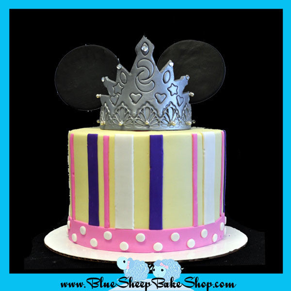 Outstanding Princess Minnie Mouse 1St Birthday Cake Blue Sheep Bake Shop Personalised Birthday Cards Veneteletsinfo