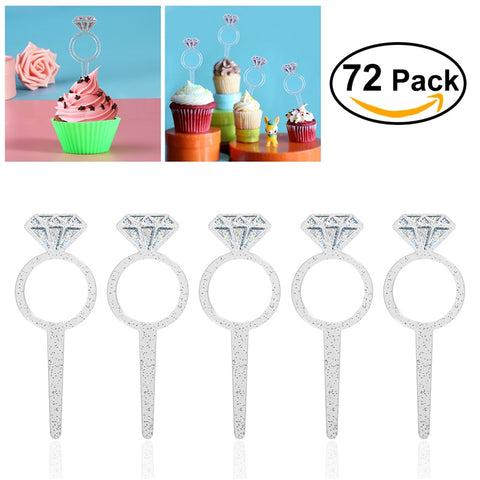 HOMEMAXS 72 Pcs Plastic Clear Diamond Cake Toppers Cake Decoration Party Ceremony Cupcake Picks