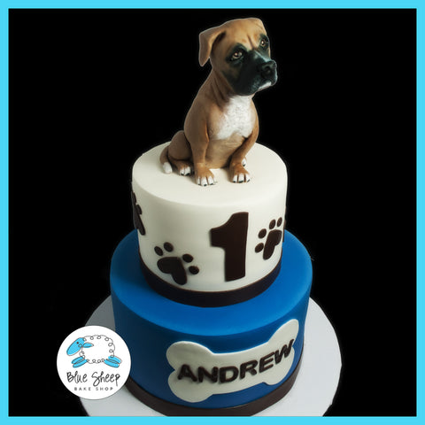 Fondant Boxer Cake Topper Puppy Themed 1st Birthday Wtih