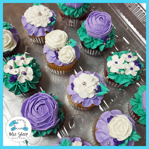 purple and teal floral cupcakes nj