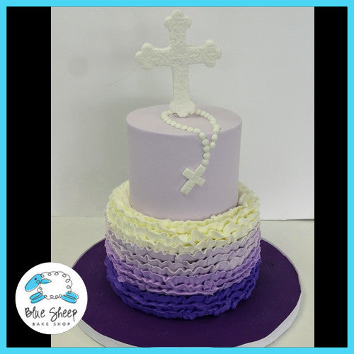 purple ombre buttercream ruffle communion cake
