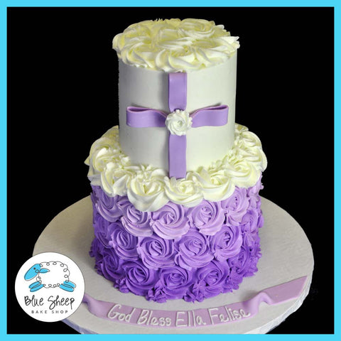 Purple Ombre Buttercream Christening Cake