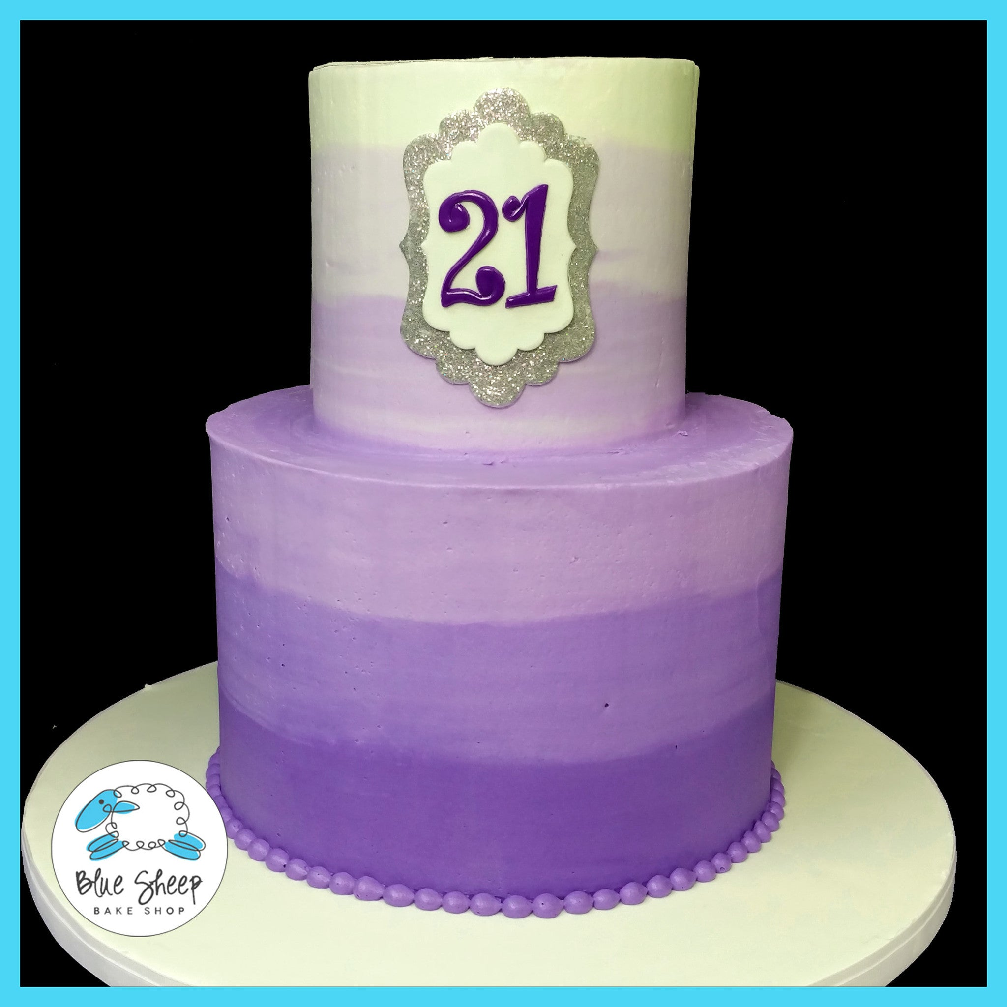Fabulous Purple Ombre 21St Birthday Cake Nj Blue Sheep Bake Shop Birthday Cards Printable Nowaargucafe Filternl