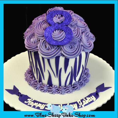 Custom Purple Zebra Cupcake Birthday Cake NJ