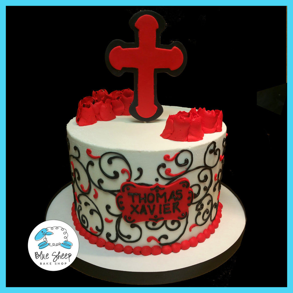 red and black buttercream confirmation cake