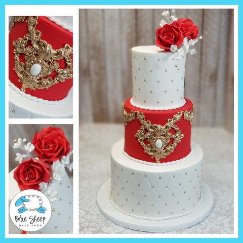 Red, White, and Gold Fondant Wedding Cake NJ