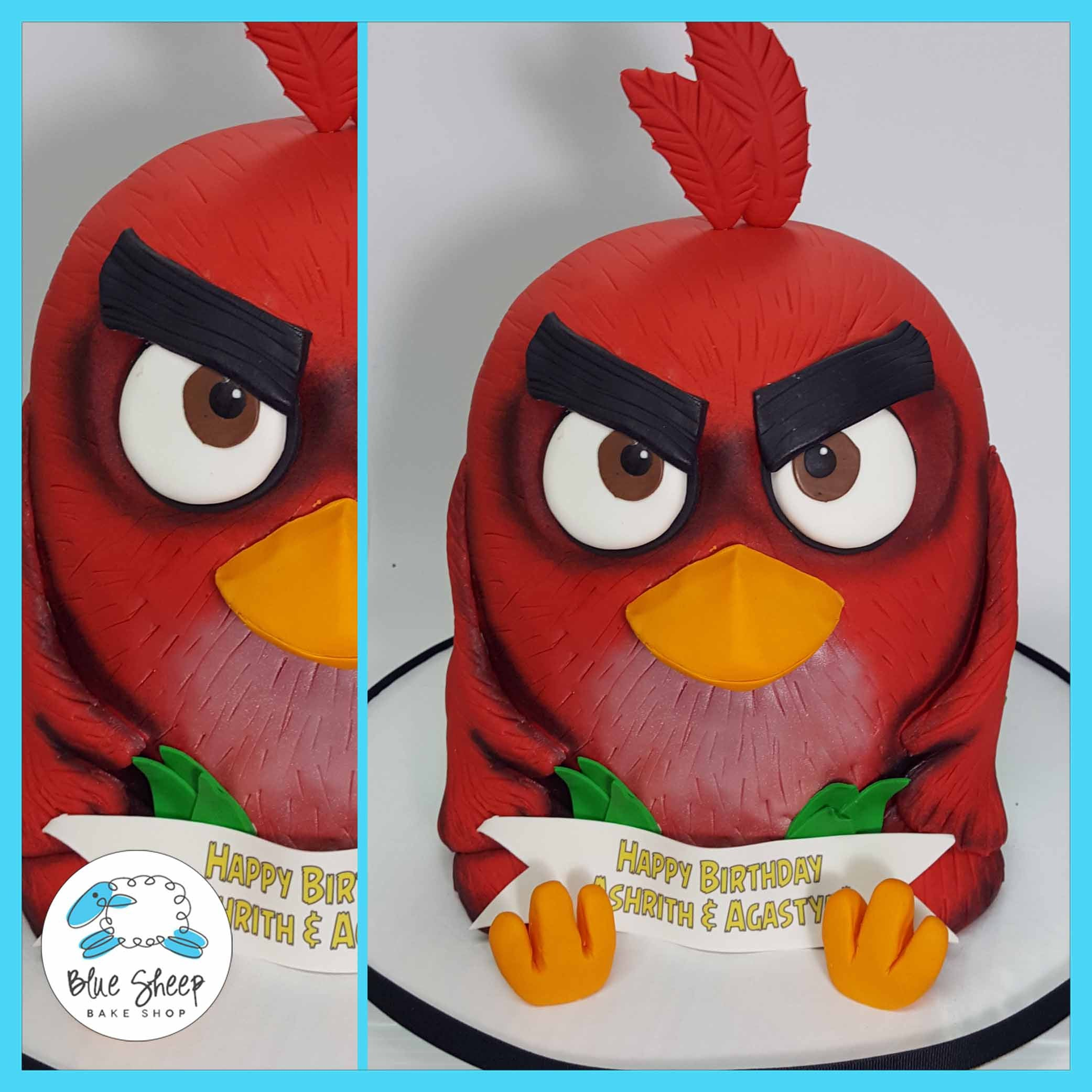Astounding Red Angry Birds Cake Blue Sheep Bake Shop Funny Birthday Cards Online Fluifree Goldxyz