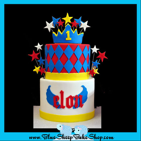 1st birthday cake - red blue yellow white rockstar prince cake - custom cake nj