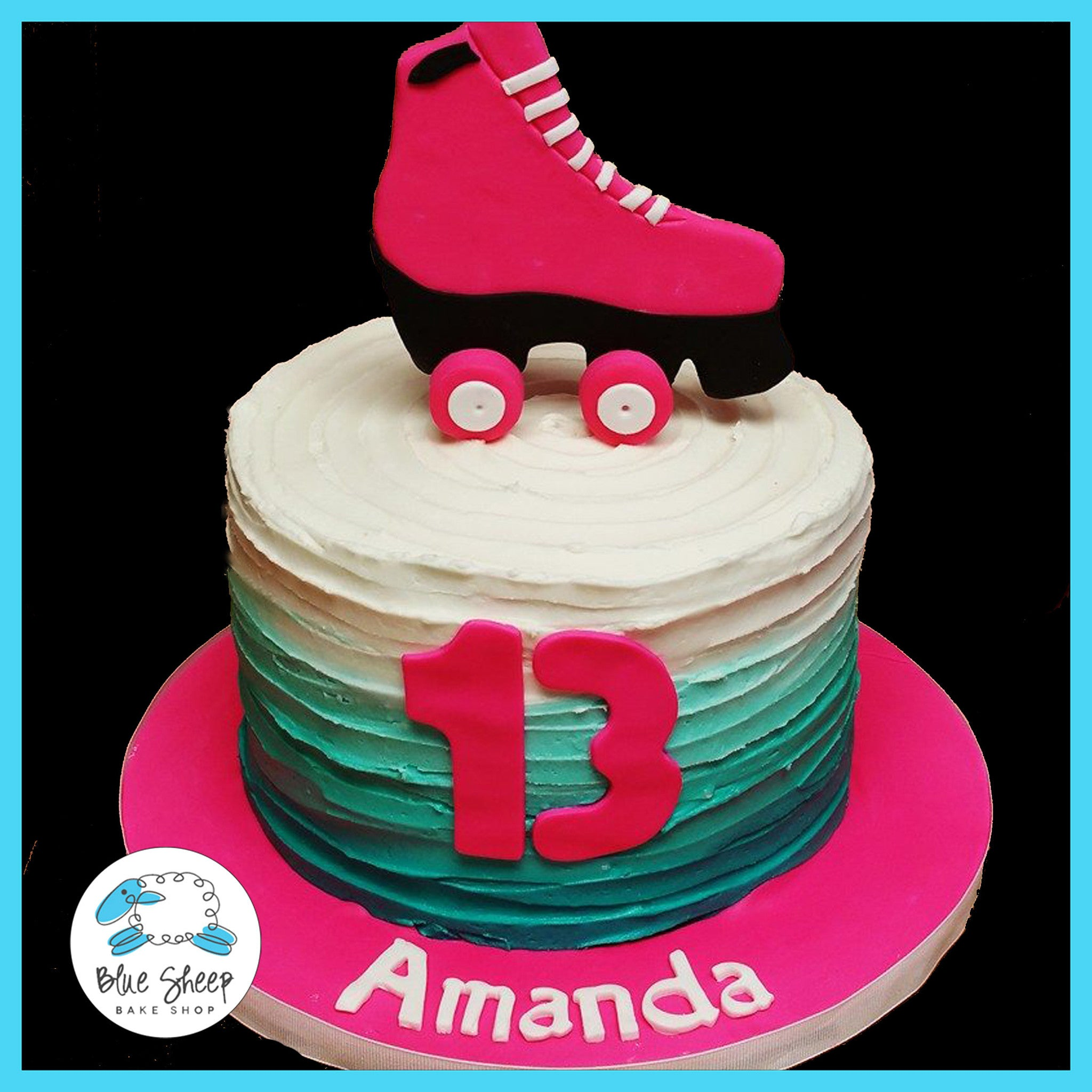 Pleasing Buttercream Rollerskate Birthday Cake Blue Sheep Bake Shop Personalised Birthday Cards Petedlily Jamesorg
