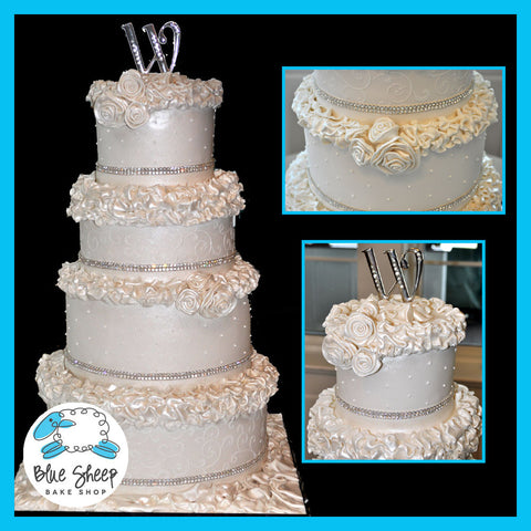 how to make ruffle roses on wedding cake ruffles amp roses wedding cake blue sheep bake shop 15987