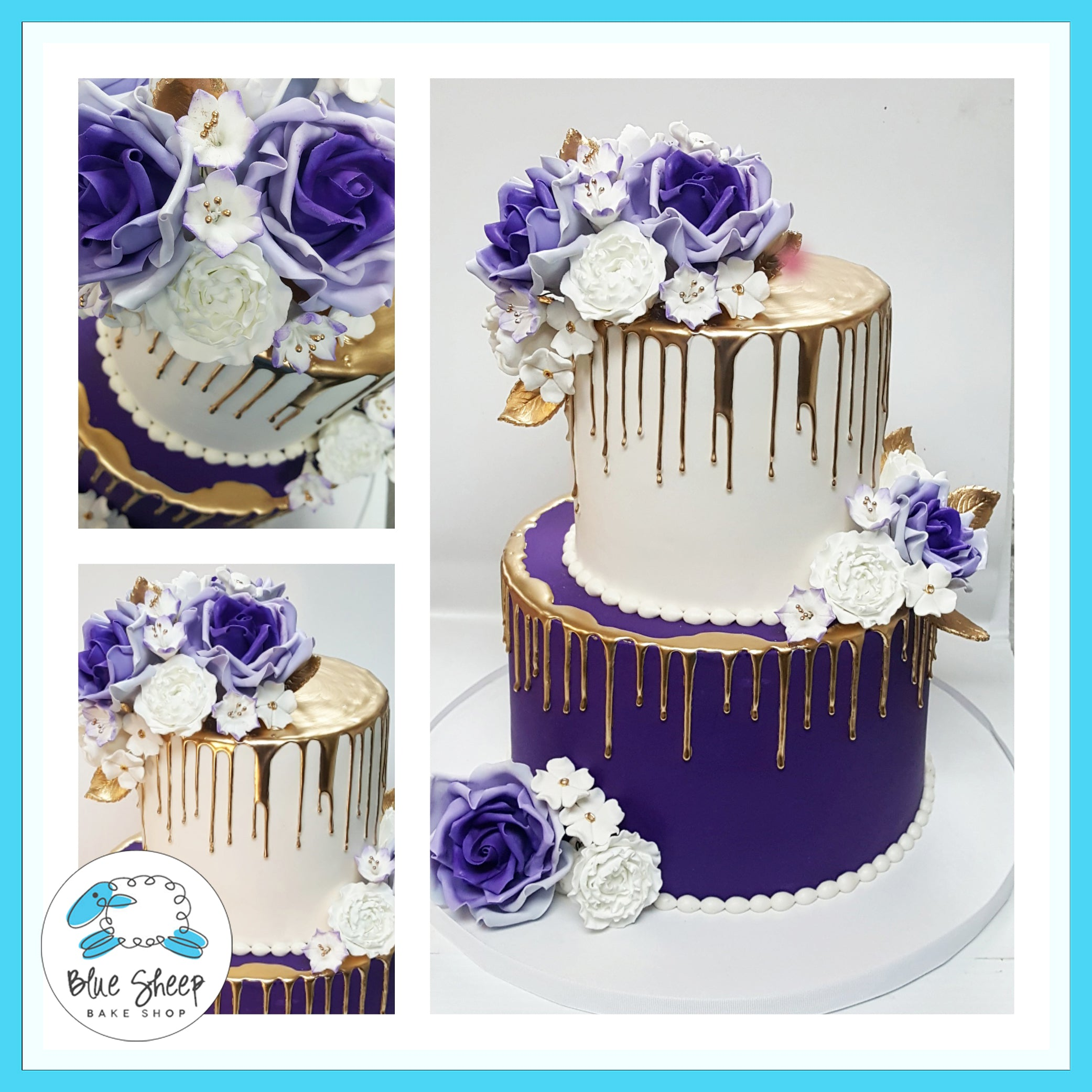 Royal Purple and Gold Drip Cake With Sugar Flowers | Blue Sheep Bake ...