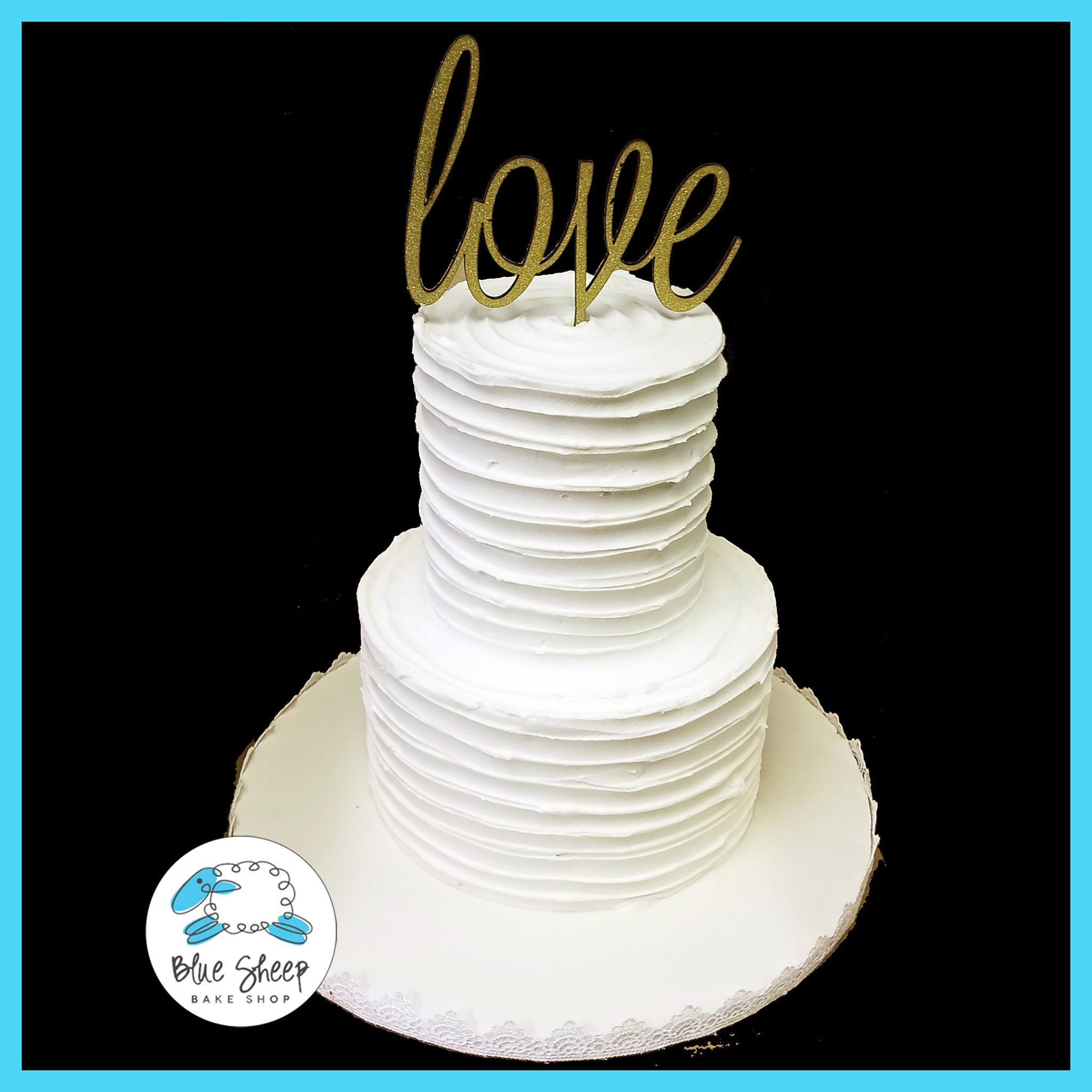 Buttercream Rustic Wedding Cake with Love Topper | Blue Sheep Bake Shop