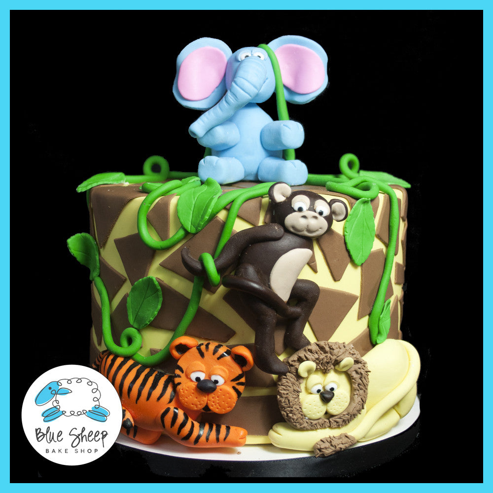 Safari Baby Shower Cake Blue Sheep Bake Shop
