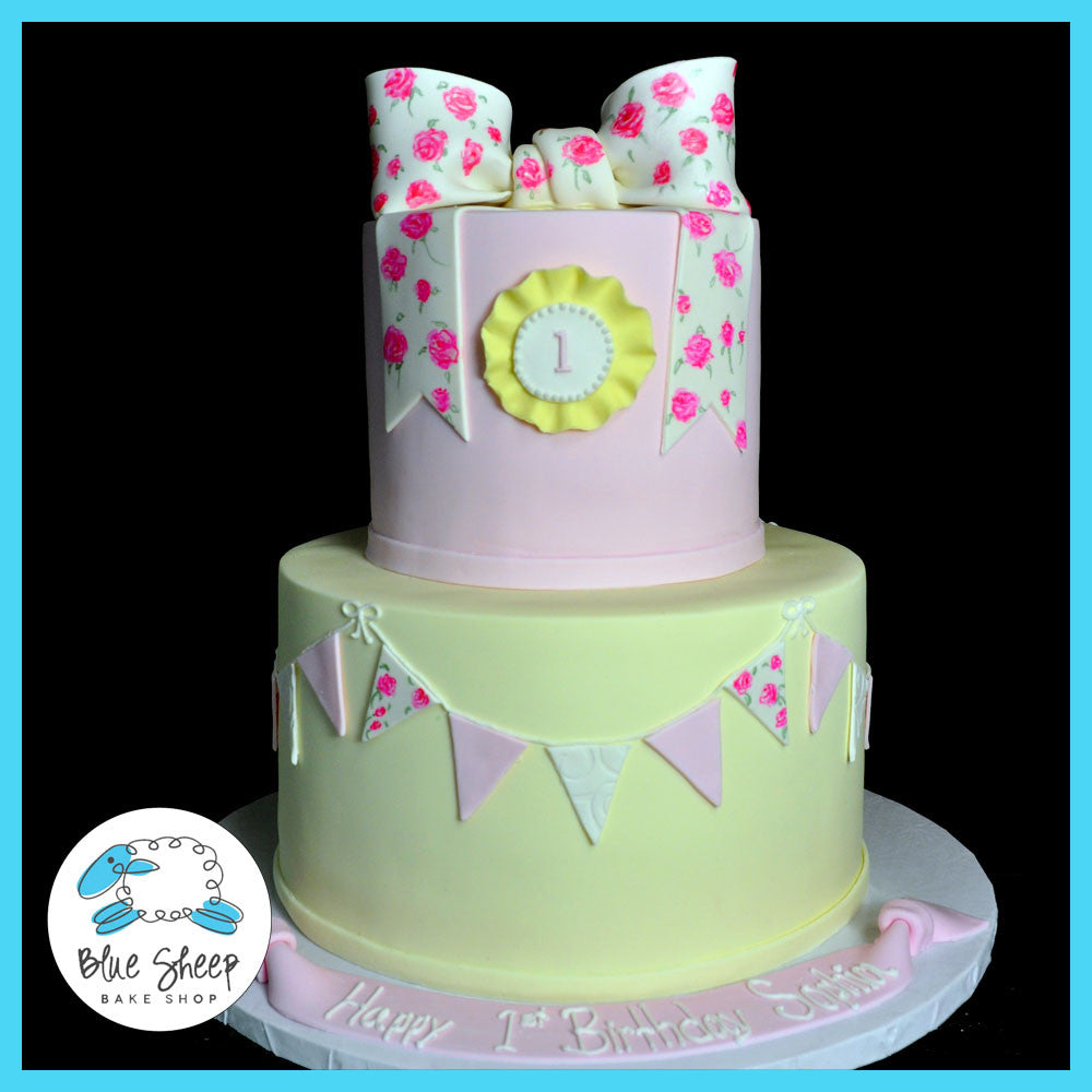 Outstanding Shabby Chic 1St Birthday Cake Blue Sheep Bake Shop Personalised Birthday Cards Cominlily Jamesorg