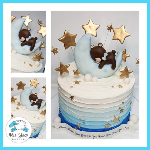 sleepy teddy custom baby shower cake