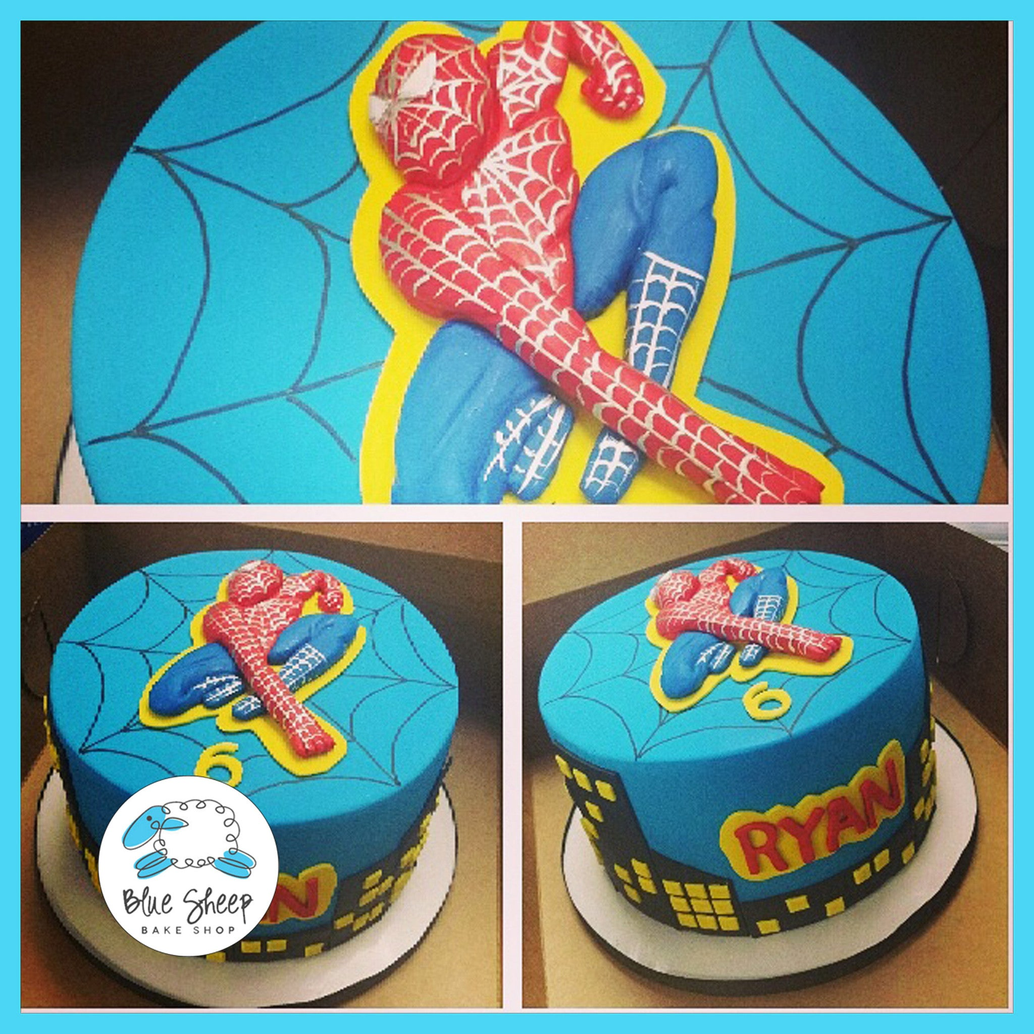 Spiderman Superhero Birthday Cake Blue Sheep Bake Shop