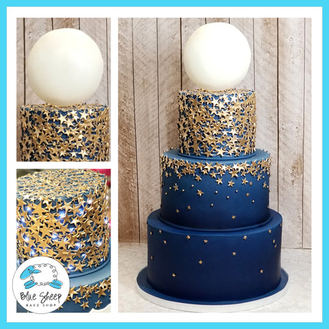 Starry Nights Sweet 16 Cake - NJ Custom Cakes, Blue Sheep