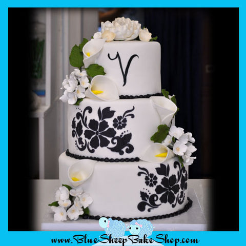 Damask and Lillies Wedding Cake