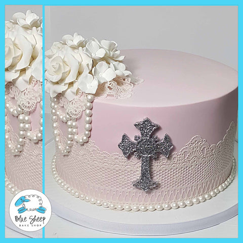 blush lace and roses communion cake nj
