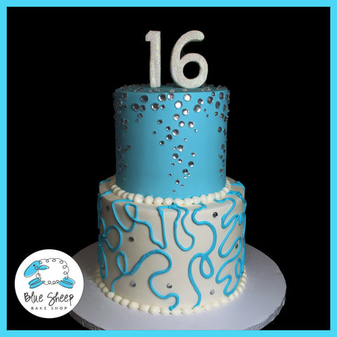 blue diamonds and swirls sweet 16 birthday cake