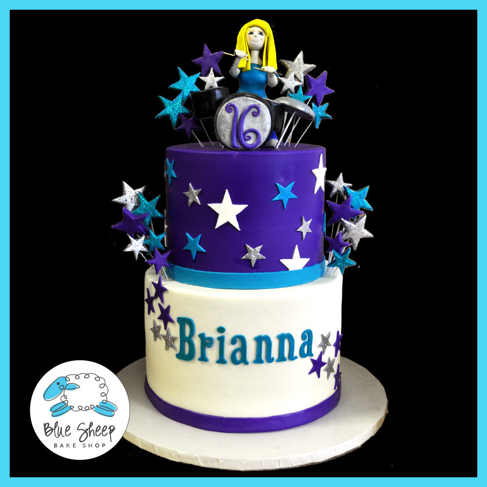 Sweet 16 Drummer Cake White Turqoise And Purple With Fondant Girl Topper Stars