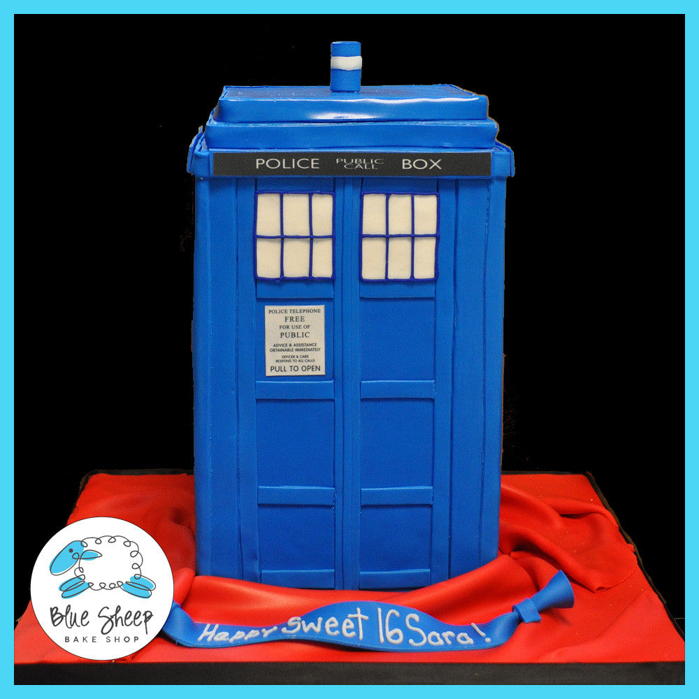 Admirable Tardis Sweet 16 Birthday Cake Blue Sheep Bake Shop Funny Birthday Cards Online Alyptdamsfinfo