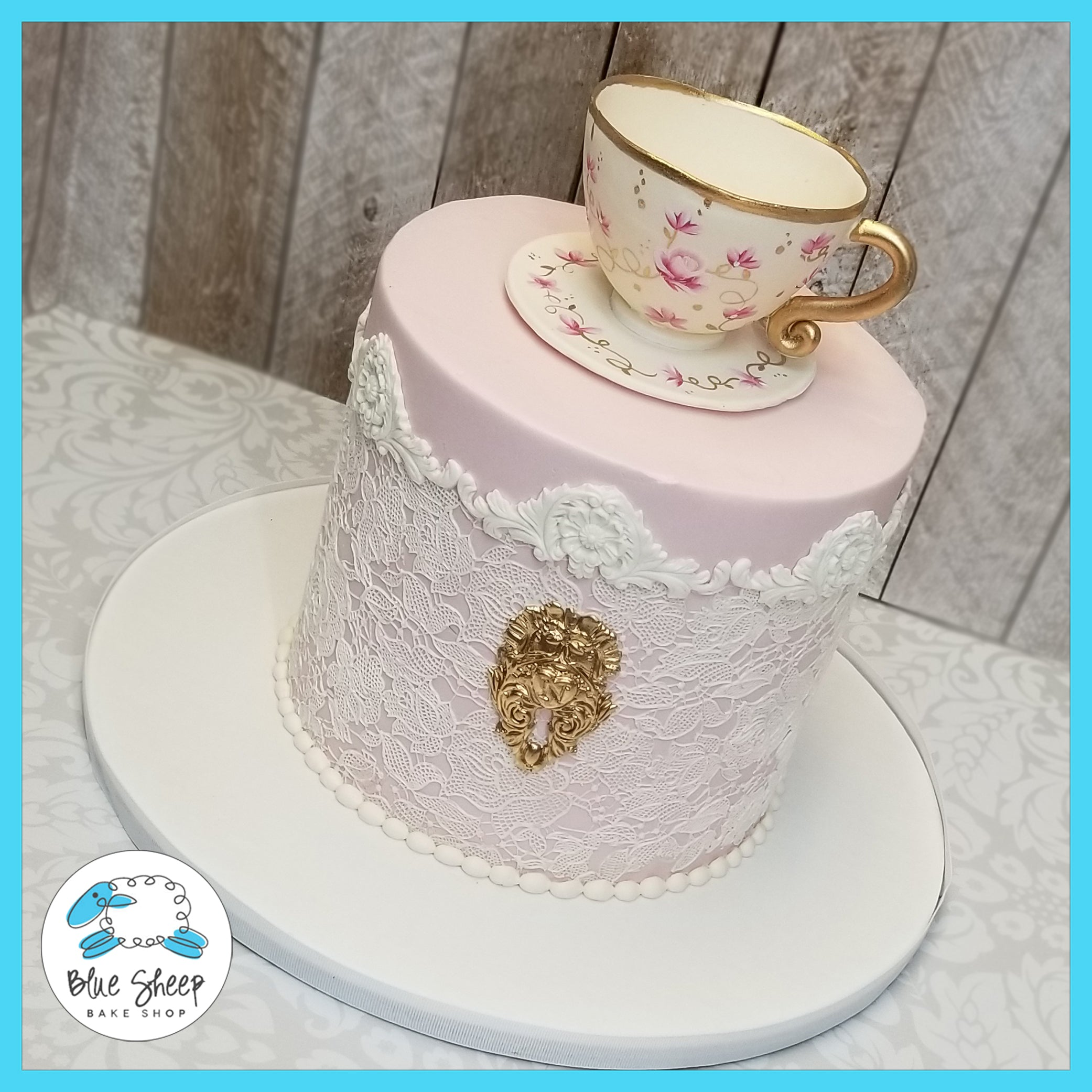 Tea Party Bridal Shower Cake with Fondant Tea Cup | Blue Sheep Bake Shop