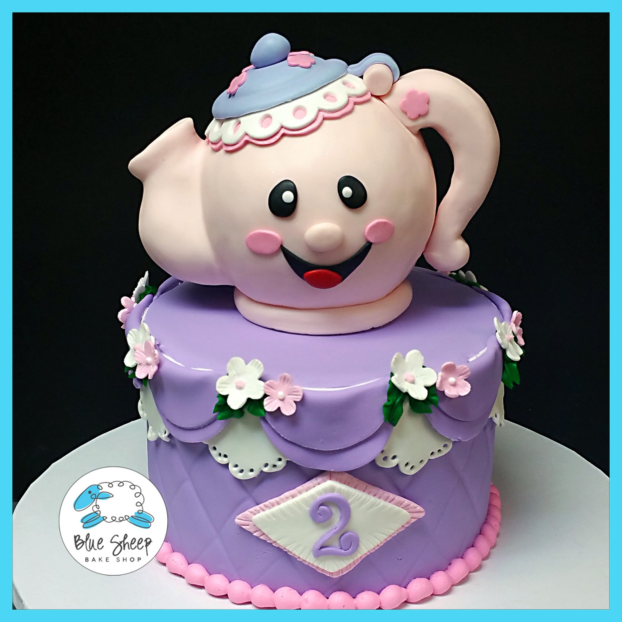 Tea Pot Birthday Cake Blue Sheep Bake Shop