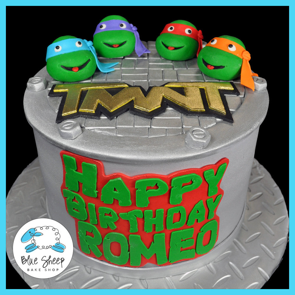Astonishing Teenage Mutant Ninja Turtles Birthday Cake Blue Sheep Bake Shop Birthday Cards Printable Riciscafe Filternl