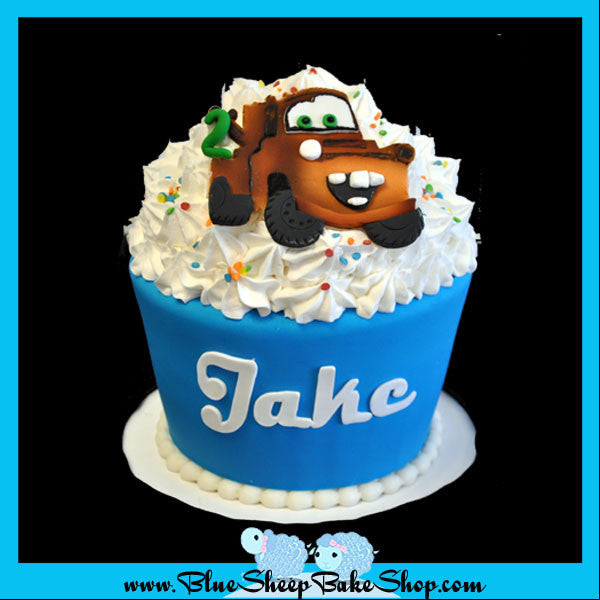Awe Inspiring Tow Mater Giant Cupcake Cake Blue Sheep Bake Shop Funny Birthday Cards Online Bapapcheapnameinfo