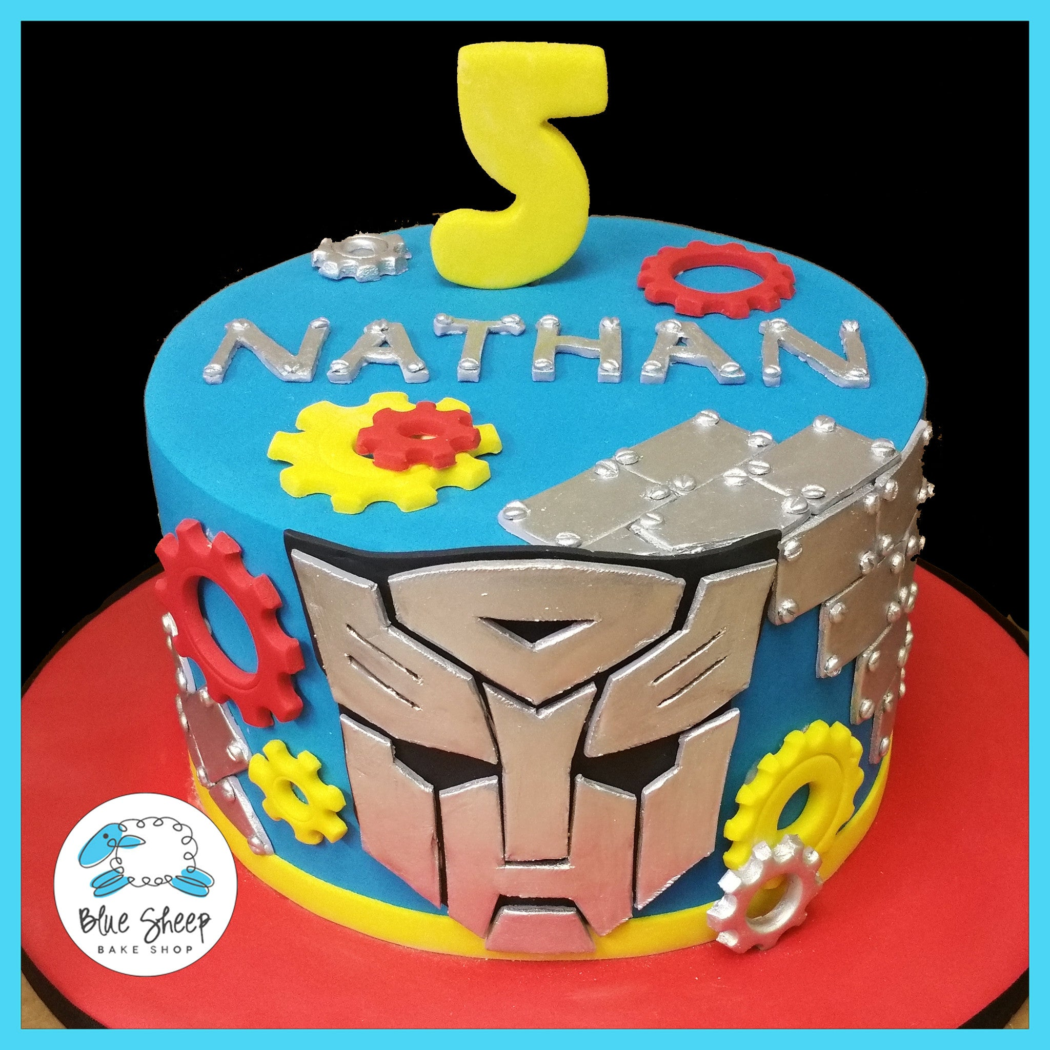 Awesome Transformers Birthday Cake Blue Sheep Bake Shop Funny Birthday Cards Online Elaedamsfinfo