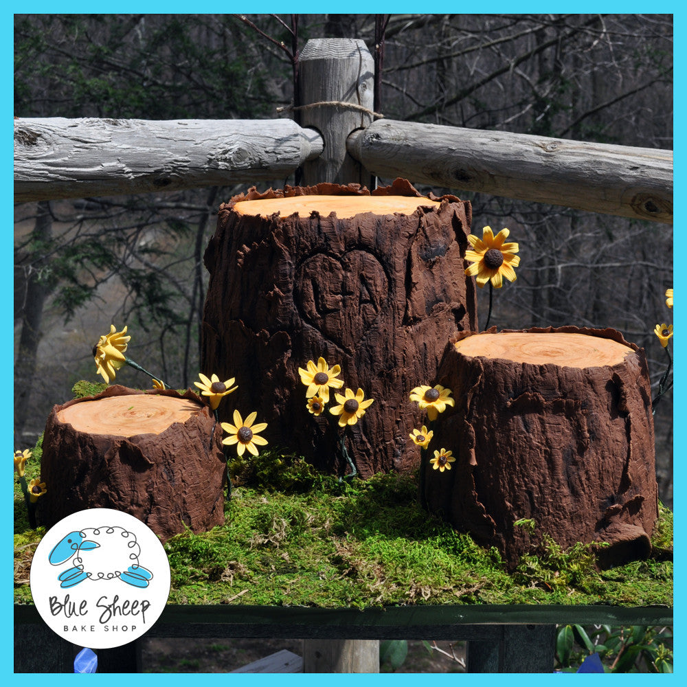 tree stump wedding cakes