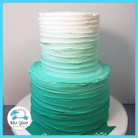 turquoise buttercream ombre birthday cake nj