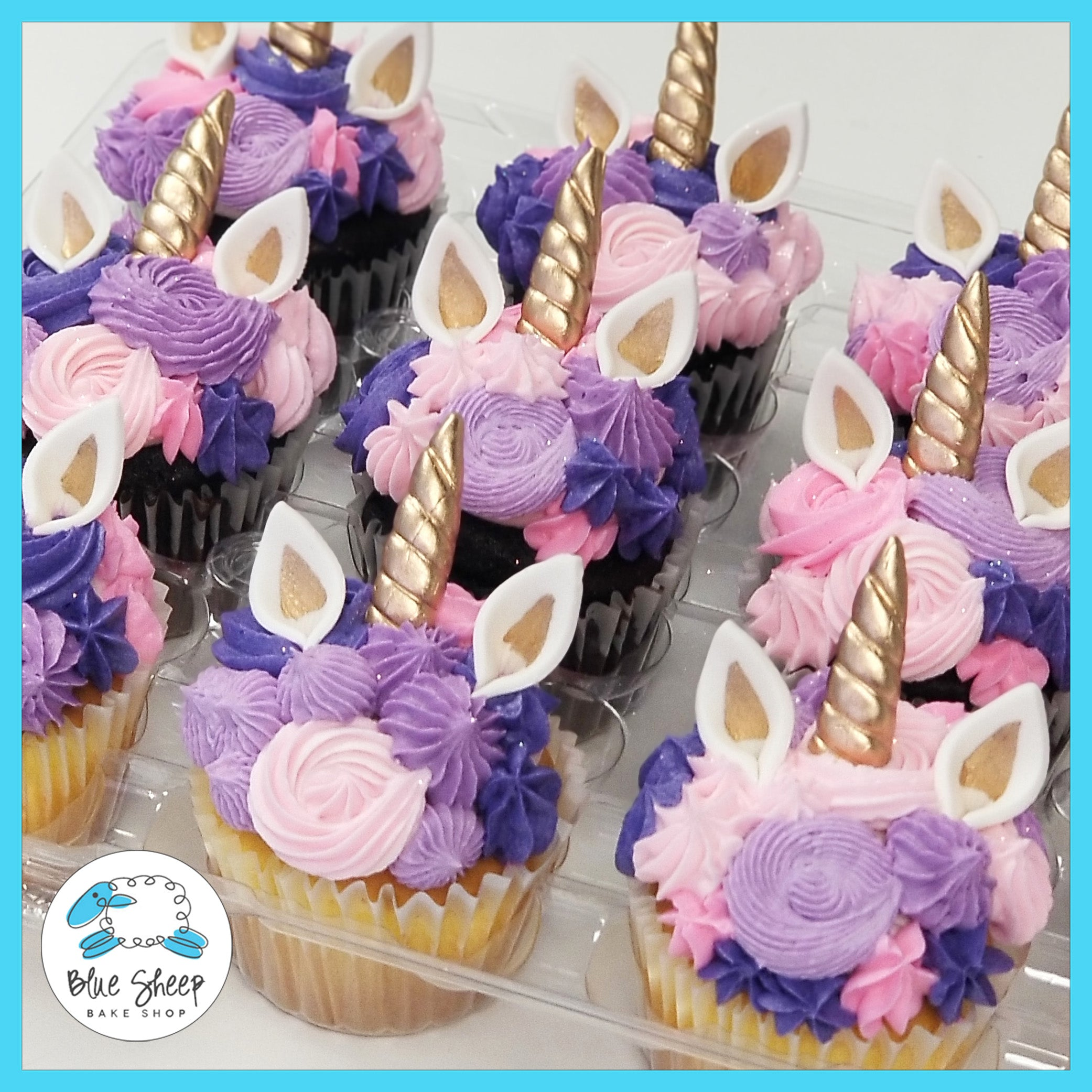12 Pink Purple Unicorn Cupcakes 2 Days Lead Time Required Blue Sheep Bake Shop