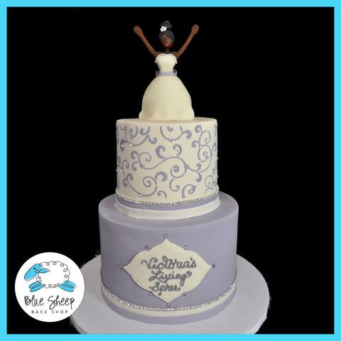 bridal shower cake with sculpted fondant cake topper