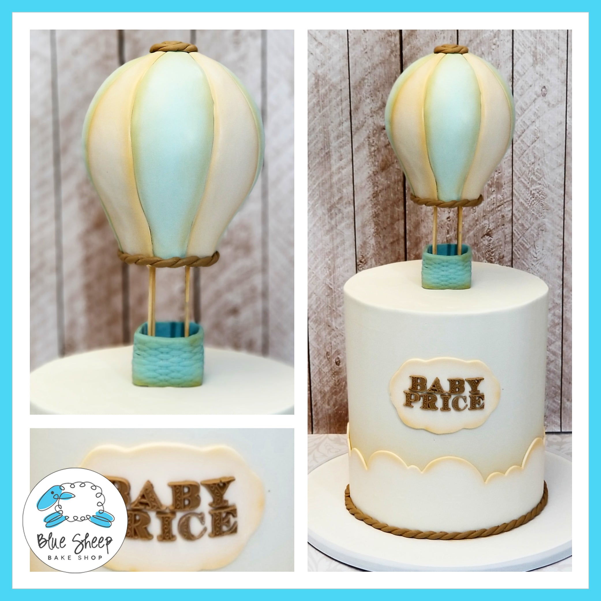 Vintage Hot Air Balloon Baby Shower Cake Blue Sheep Bake Shop
