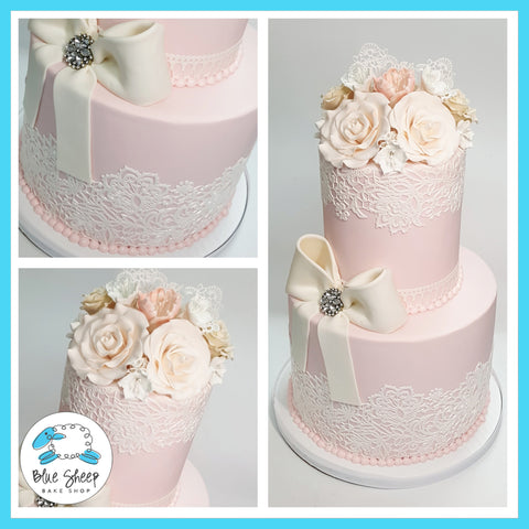 Vintage Lace and Roses Bridal Shower Cake