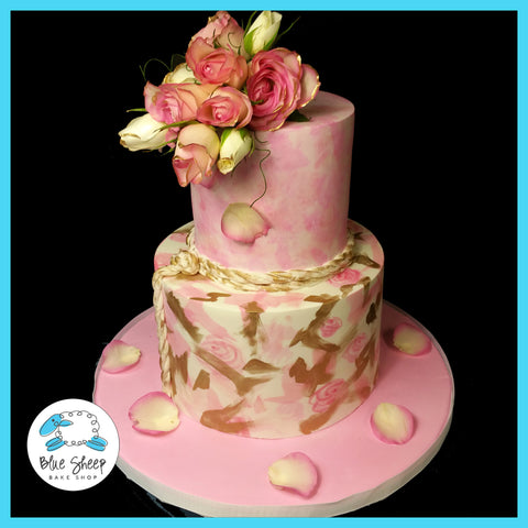 water color pink and gold bridal shower cake nj