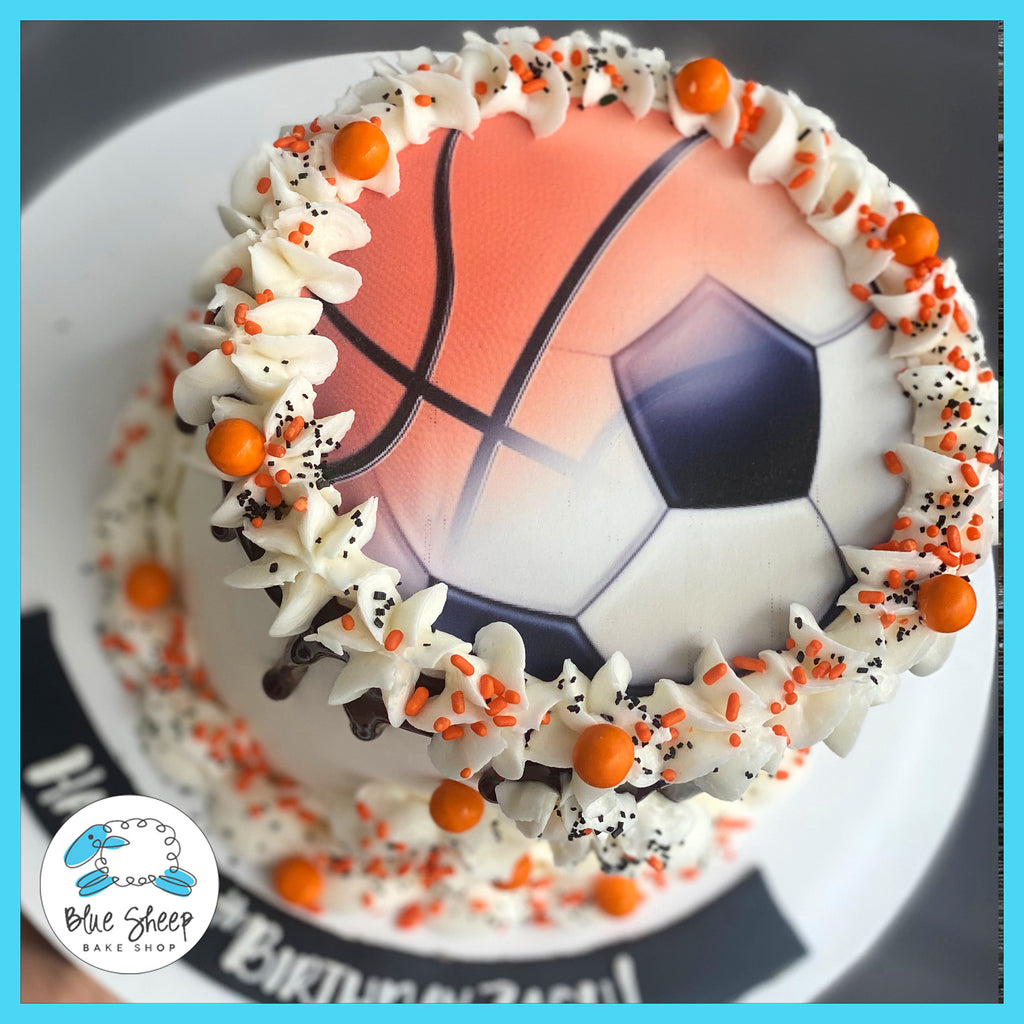 basketball & soccer cake nj bakery