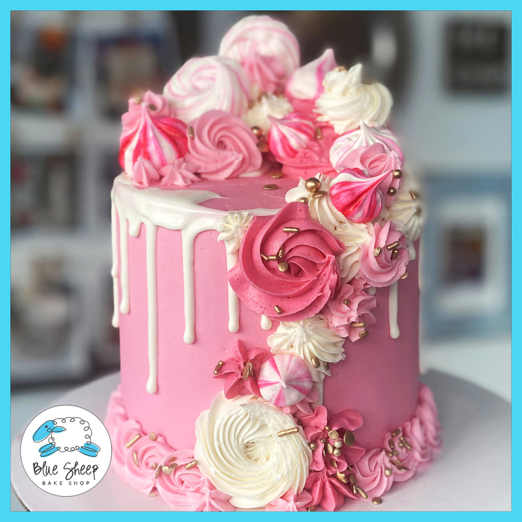 pink merengue birthday cake