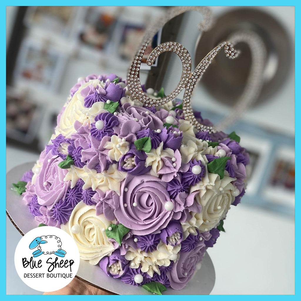 purple floral textures cake nj