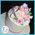 wedding cake cupcake topper  with pink roses,  white stephanotis, lavender hydrangea, and pink cherry blossoms