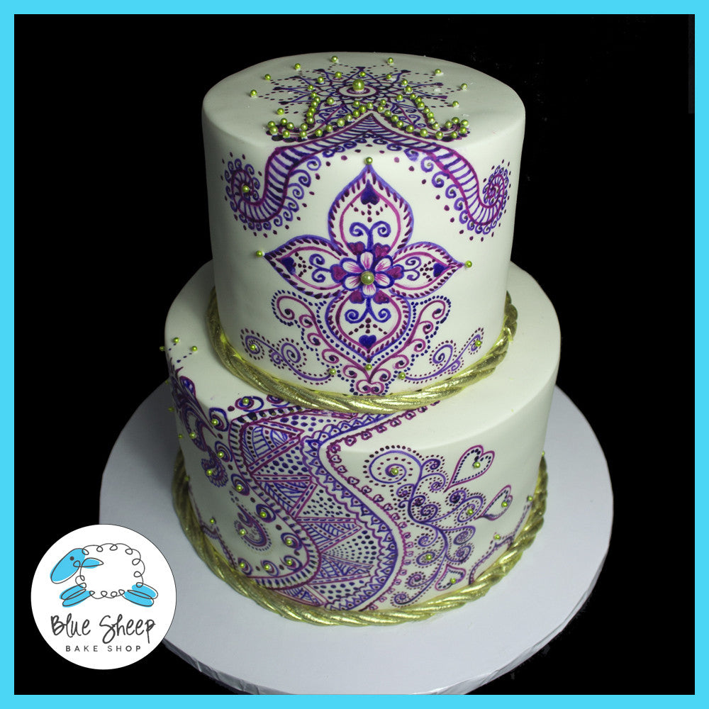 Painted Henna Wedding Cake Blue Sheep Bake Shop