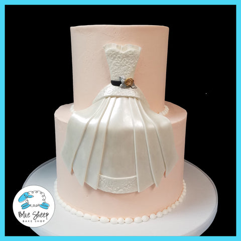 buttercream wedding dress bridal shower cake nj