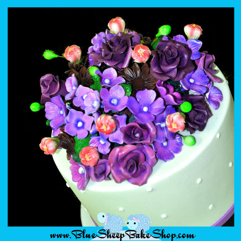 purple wedding cake topper dahlias hydrangea roses