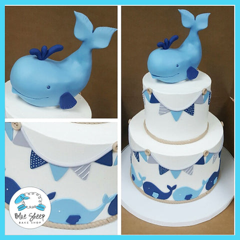 buttercream whale baby shower cake nj