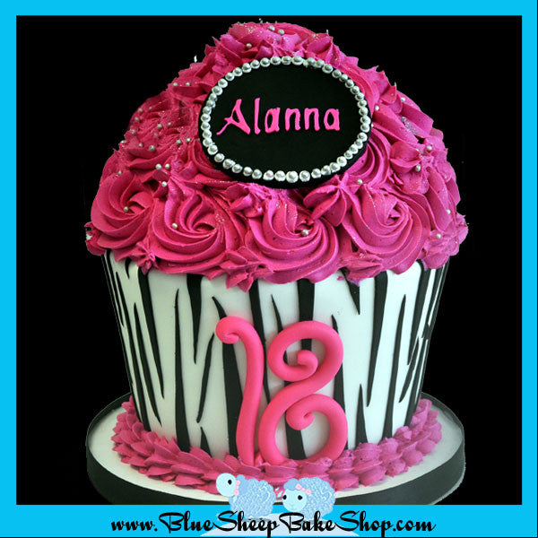 zebra and hot pink giant cupcake cake