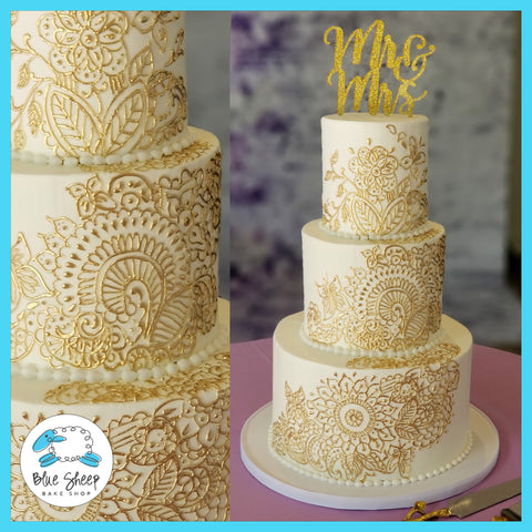 white and gold henna wedding cake nj