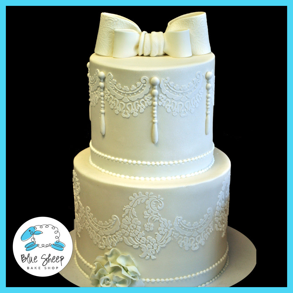 Lace And Pearls Wedding Cake Blue Sheep Bake Shop