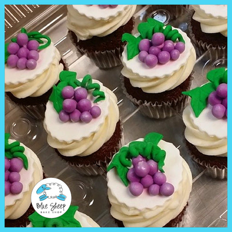 grape wine themed bridal shower cupcakes